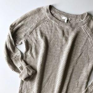 Joie Open Knit Grey Linen Sweater